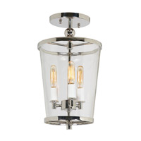 Charleston 3 Light 8 inch Polished Nickel Semi-Flush Mount Ceiling Light