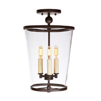 Charleston 3 Light 10 inch Oil Rubbed Bronze Semi-Flush Mount Ceiling Light