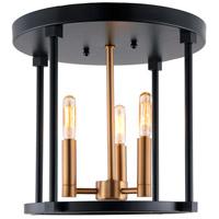 JVI Designs 3064-10 Roxhill 3 Light 12 inch Satin Brass and Black Flush Mount Ceiling Light