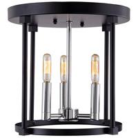 JVI Designs 3064-15 Roxhill 3 Light 12 inch Polished Nickel and Black Flush Mount Ceiling Light
