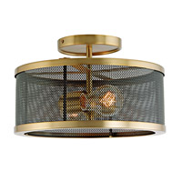 JVI Designs 3070-10 Wellington 2 Light 12 inch Satin Brass and Black Semi Flush Mount Ceiling Light