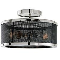 JVI Designs 3070-15 Wellington 2 Light 12 inch Polished Nickel and Black Semi Flush Mount Ceiling Light