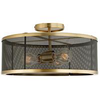 JVI Designs 3071-10 Wellington 3 Light 16 inch Satin Brass and Black Semi Flush Mount Ceiling Light