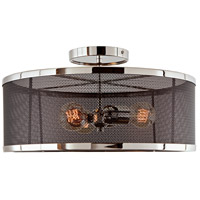 JVI Designs 3071-15 Wellington 3 Light 16 inch Polished Nickel and Black Semi Flush Mount Ceiling Light