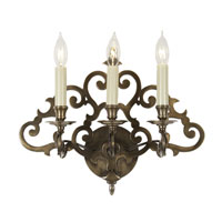 Scroll 3 Light 17 inch Weathered Bronze Wall Sconce Wall Light