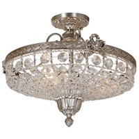 Traditional Brass 3 Light 15 inch Pewter Flush Mount Ceiling Light