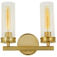 Hamilton 2 Light 13 inch Satin Brass Wall Sconce Wall Light