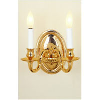 JVI Designs Beaded 2 Light Wall Sconce in Polished Brass 510-01