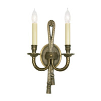 JVI Designs Tassel 2 Light Wall Sconce in Antique Brass 555-05 photo thumbnail