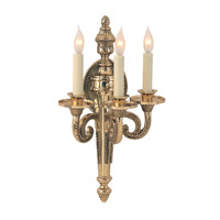 Regal 3 Light 12 inch Antique Brass Wall Sconce Wall Light