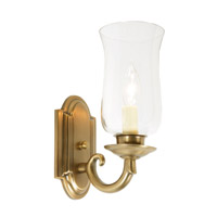 JVI Designs Hurricane 1 Light Wall Sconce in Rubbed Brass 817-10