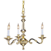 Cast Brass 3 Light 18 inch Polished Brass Chandelier Ceiling Light