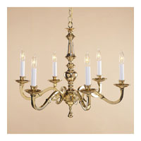 JVI Designs Cast Brass 6 Light Chandelier in Polished Brass 906-01