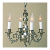 Traditional Brass 4 Light 13 inch Pewter Mini Chandelier Ceiling Light