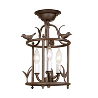 Bird Cage 3 Light 9 inch Rust Semi-Flush Mount Ceiling Light