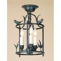 JVI Designs Bird Cage 3 Light Semi Flush Lantern in Verde 924-25