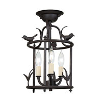 Bird Cage 3 Light 9 inch Matte Black Semi-Flush Mount Ceiling Light