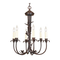 JVI Designs 930-22 Bird 6 Light 20 inch Rust Chandelier Ceiling Light