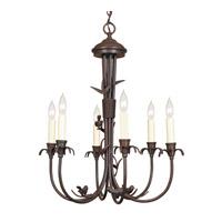 JVI Designs 930-22 Bird 6 Light 20 inch Rust Chandelier Ceiling Light
