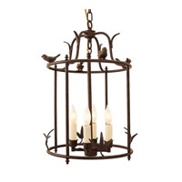 Bird 4 Light 12 inch Rust Hanging Cage Lantern Ceiling Light