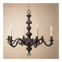 Traditional Brass 6 Light 29 inch Rust Chandelier Ceiling Light