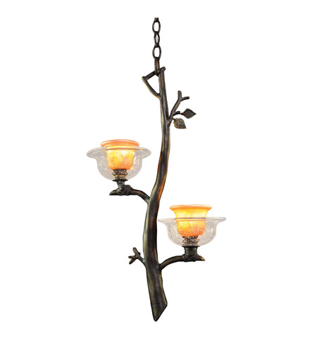 Kalco 2519SB/ART Cottonwood 2 Light 14 inch Sienna Bronze Pendant Ceiling Light in Art Glass FALL CLEARANCE photo