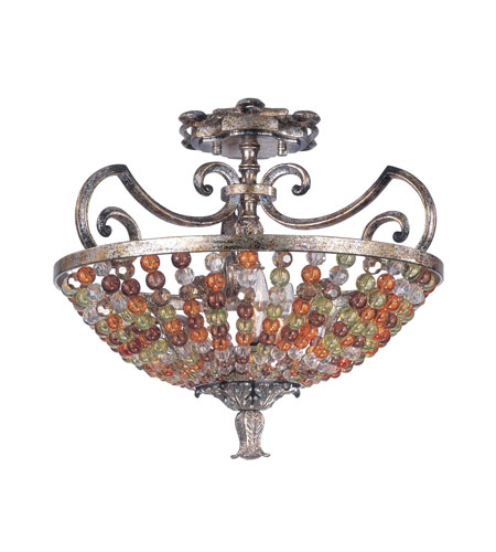 Kalco 2565AF Chesapeake 3 Light 17 inch Tuscan Gold Semi Flush Mount Ceiling Light in Antique Silver Leaf FALL CLEARANCE photo