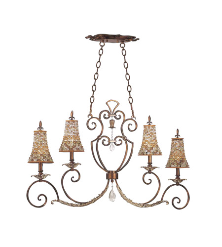 Kalco 2570TG/S292 Chesapeake 4 Light 43 inch Sienna Bronze Island Light Ceiling Light in Tuscan Gold, Color Beaded Tapered (S292) photo
