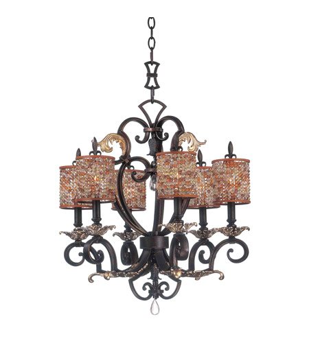 Kalco 2571SB/S293 Chesapeake 6 Light 24 inch Sienna Bronze Chandelier Ceiling Light in Color Beaded Drum (S293) FALL CLEARANCE photo