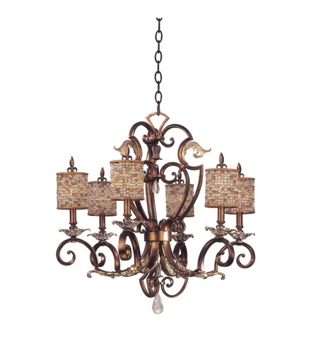 Kalco Lighting Chesapeake 6 Light Chandelier in Tuscan Gold 2572TG/S293 photo