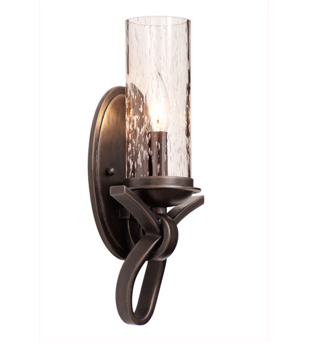 Kalco 2661HB/1100 Grayson 1 Light 7 Inch Heirloom Bronze Wall Sconce Wall  Light In Seeded Side Glass (1100), Without Crystals, Hierloom Bronze