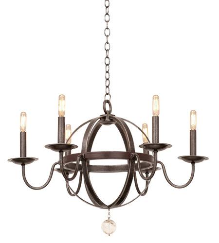 Clearance Chandeliers: Kalco 2765VI Devon 6 Light 25 Inch Vintage Iron Chandelier