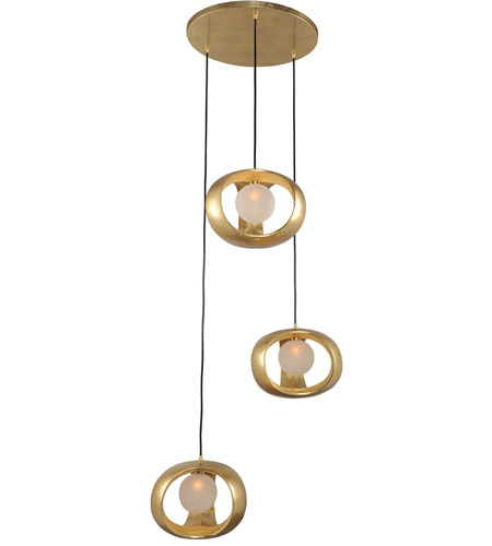 Kalco 302351gl calistoga 3 light 25 inch gold leaf pendant ceiling light aloadofball Image collections