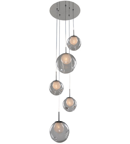 Kalco 309541ch Clear Meteor 5 Light 15 Inch Chrome Pendant Ceiling In