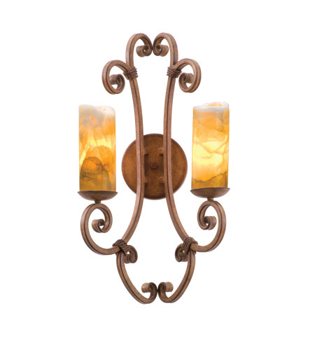 Kalco Lighting Stratford 2 Light Wall Sconce in Bellagio with Natural Calcite Shade 3124BG/CALC photo