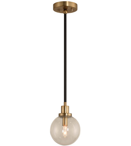 Kalco 315410BBB Cameo 1 Light 6 inch Matte Black Finish with Brushed Pearlized Brass Mini Pendant Ceiling Light in Matte Black with Brushed Pearlized Brass photo thumbnail