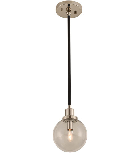 Kalco 315410BPN Cameo 1 Light 6 inch Matte Black Finish With Nickel Accents Mini Pendant Ceiling Light in Matte Black with Nickel Accents photo thumbnail
