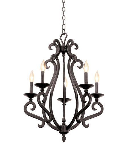 Kalco 3166PS/S47 Santa Barbara 5 Light 22 inch Pearl Silver Chandelier Ceiling Light photo