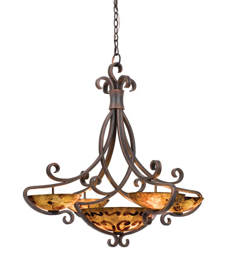 Kalco 4068AC/PENSH G-Cleft 11 Light 38 inch Antique Copper Chandelier  Ceiling Light in Bowl shade, 15