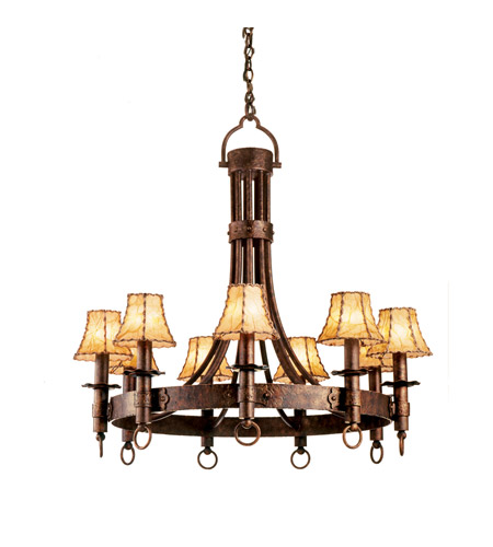 Kalco 4209CC/8045 Americana 9 Light 36 inch Tawny Port Chandelier Ceiling Light in Copper Claret, Without Glass, Leather-wrapped photo