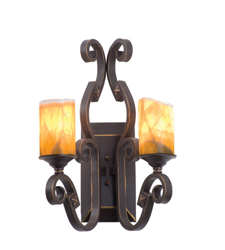 Kalco Lighting Ibiza 2 Light Wall Sconce in Tawny Port with Natural Calcite Shade 4259TP/CALC photo