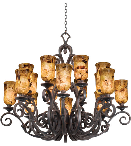 Kalco 4264AC/PS5201 Ibiza 16 Light 50 inch Antique Copper Chandelier Ceiling Light in Penshell (PS5201) photo