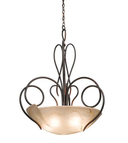 Kalco Lighting Tribecca 5 Light Pendant in Antique Copper 4306AC/MILKY photo