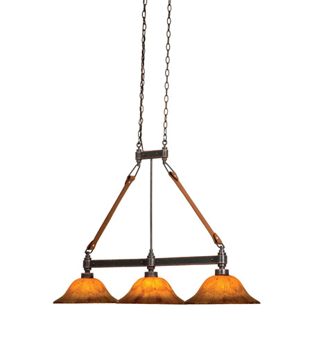 Kalco 4640AC/NS07 Rodeo Drive 3 Light 42 inch Antique Copper Island Light Ceiling Light in Buddha Leaf (NS07) photo