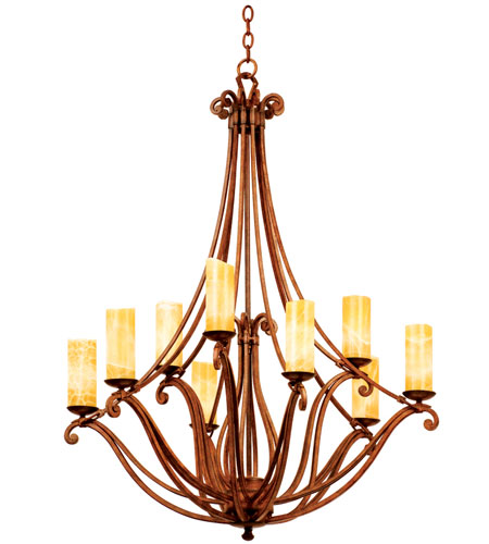 Kalco Lighting Somerset 9 Light Chandelier in Tuscan Sun with Natural Calcite Shade 4971TN/CALC photo