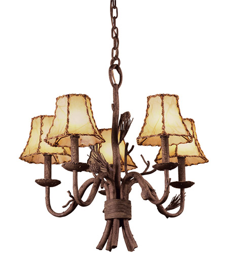 Kalco 5035PD/8045 Ponderosa 5 Light 23 inch Sycamore Chandelier Ceiling Light in Without Glass, Leather-wrapped photo