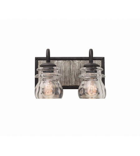 Kalco 504632BI Bainbridge 2 Light 12 inch Black Iron Vanity Light Wall Light