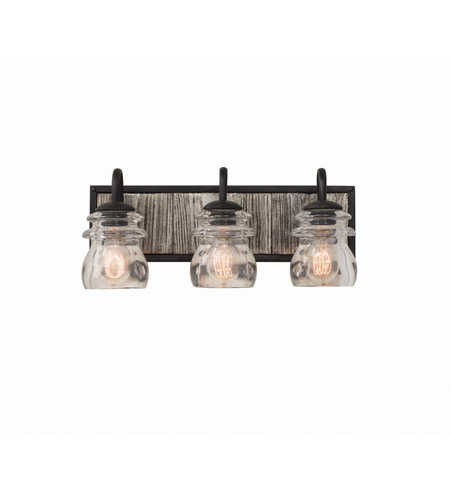 Kalco 504633bi bainbridge 3 light 19 inch black iron vanity light wall light