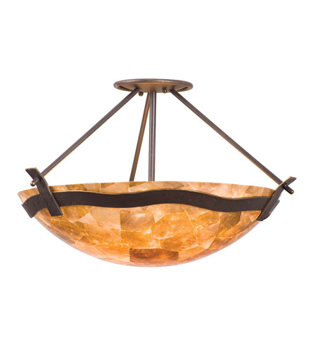 Kalco 5457TP/NS112 Aegean 3 Light 23 inch Tuscan Sun Semi Flush Mount Ceiling Light in Iridescent Shell (NS112), Tawny Port photo