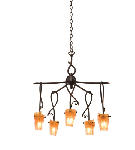 Kalco Lighting Preston 5 Light Chandelier in Antique Copper 5515AC/FLAME photo